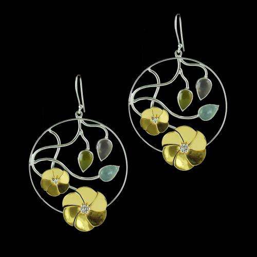 Hanging Earrings Blue And yellow Onyx Stones