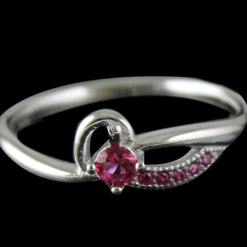 R4656 Sterling Silver Ring Studded Zircon Stone