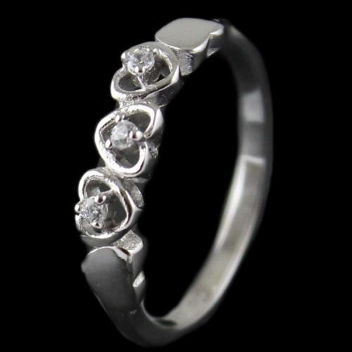 R13297 Sterling Silver Fancy Ring Studded Zircon Stones