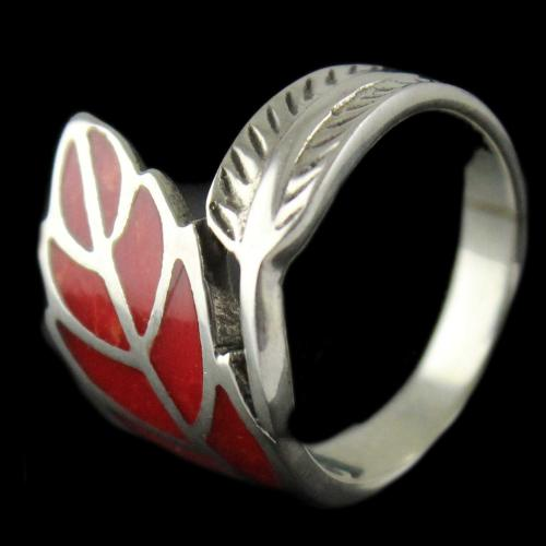 Silver Red Stone Ring