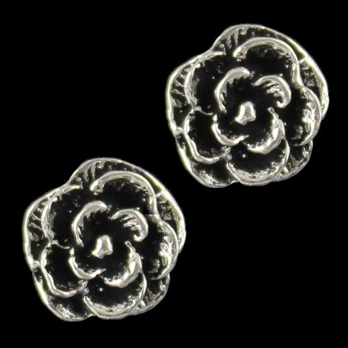Silver Oxidize Flower Design Casual Earring
