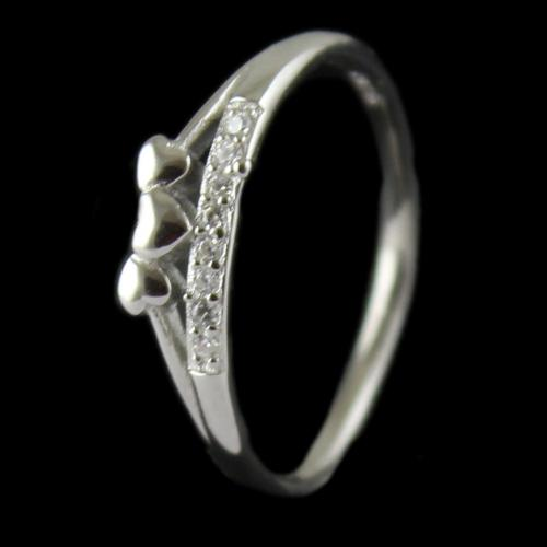 R13239 Sterling Silver Fancy Ring Studded Zircon Stone