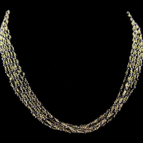 Silver Black Colour Bunch Necklace