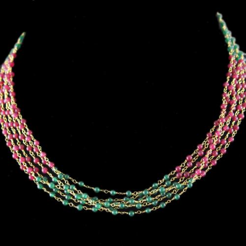 Silver Green And Red Bunch Necklace