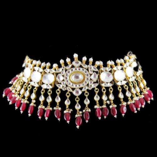 Silver Fancy Design Necklace Studded Kundan And Red Onyx Stone and Pearls