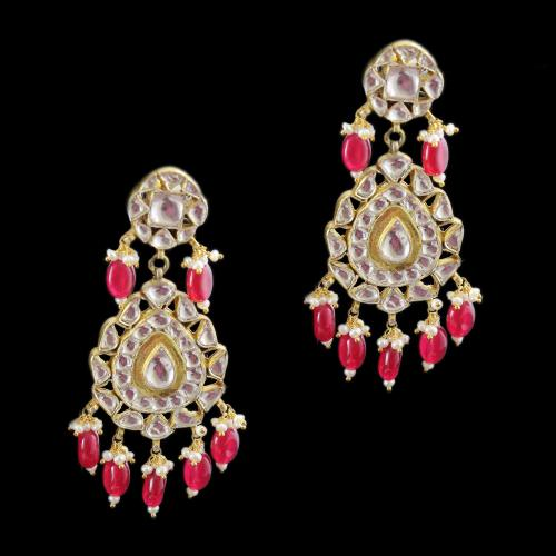 Silver Fancy Design Earring Drops Studded Kundan And Red Onyx Stones Pearls