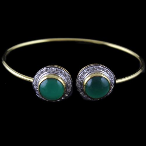 Gold Plated Cuff Bangle Zircone And Green Onyx Stones