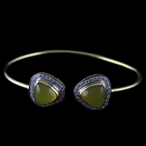 Gold Plated Cuff Bangle Yellow And Zircon Stones