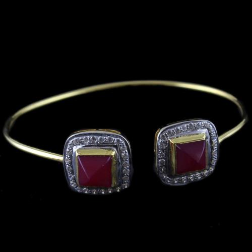 Gold Plated Cuff Bangle Red Onyx And Zircon Stones