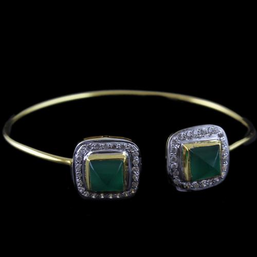Gold Plated Cuff Bangle Green Onyx And Zircon Stones