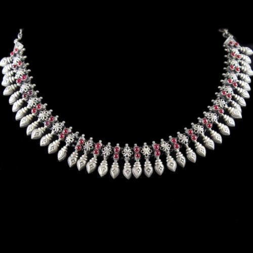 Silver Oxidized Necklace Studded Pink Onyx Stones