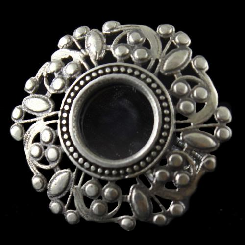 Silver Oxidized Floral Design Ring