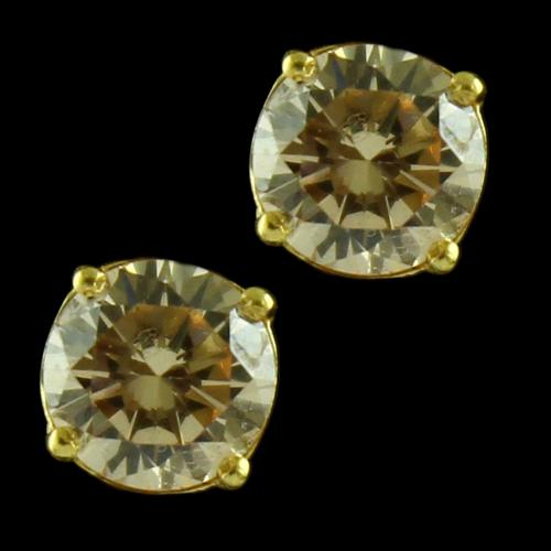 Gold Plated Casual Earring Studded Pink Zircon Stone