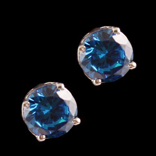 Silver Casual Earring Studded Blue Zircon Stone