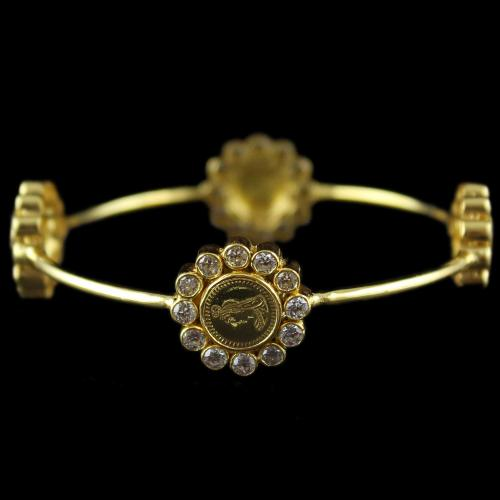 Silver Gold Plated Coin Bangle Studded Zircon Stone