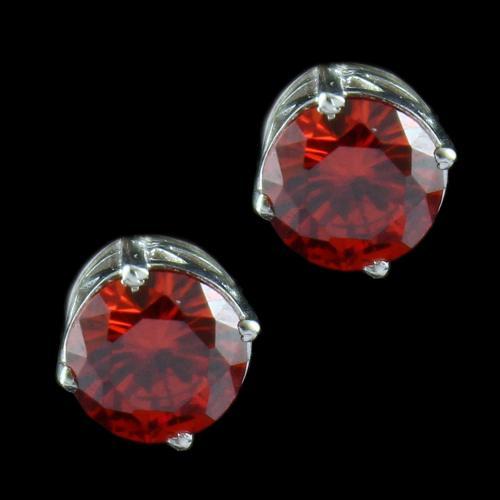 Silver Casual Earring Studded Orange Zircon Stone