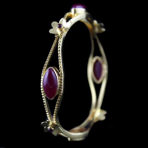 Silver Gold Plated Fancy Design Bangle Studded Red Onyx Stones