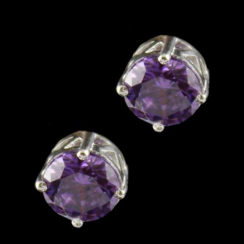 Silver Casual Earring Studded Violet Zircon Stone