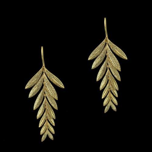 Rose Gold Leaf Design Hanging Earrings Studded Zircon Stones