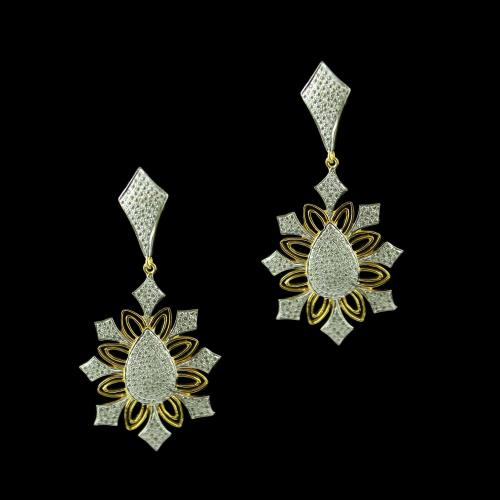 Gold Plated Floral Design Drops Earring Studded Zircon Stones