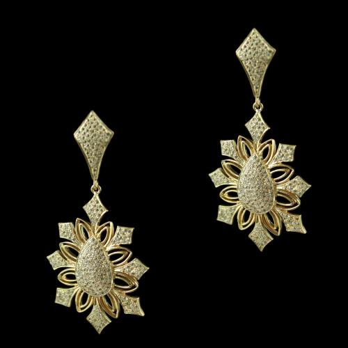Rose Gold Floral Design Drops Earring Studded Zircon Stones