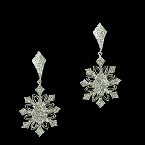 Silver Floral Design Drops Earring Studded Zircon Stones