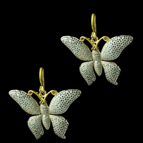 Gold Plated butterfly Design Hanging Earring Studded Zircon Stones