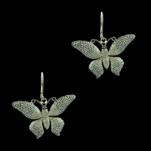 Silver Butterfly Design Hanging Earring Studded Zircon Stones