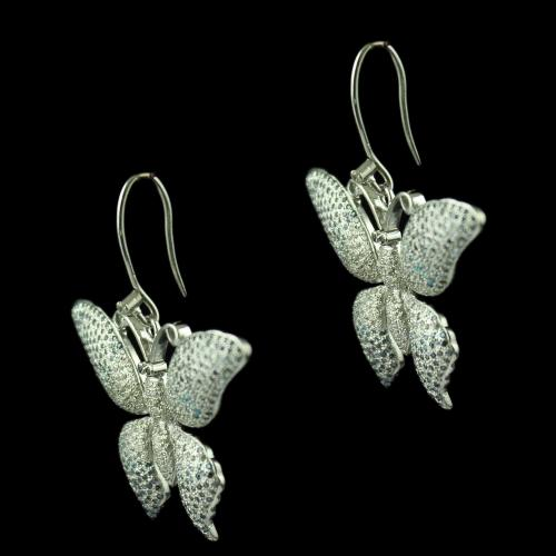 Silver Butterfly Design Design Hanging Earring Studded Zircon Stones