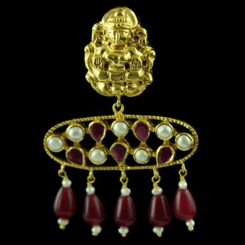 Gold Plated God Design Drops Earring Studded Red Pear And Pearls