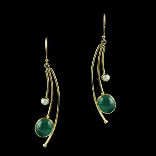 Rose Gold Hanging Earring Studded Green Onyx Stones