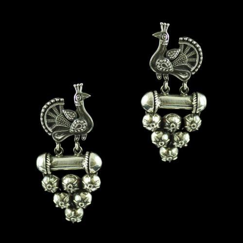 Silver Oxidized Fancy Design Drop Earring