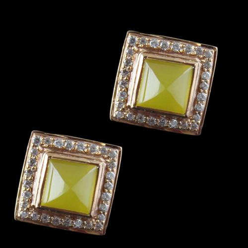 Gold Plated Casual Earring Studded With Yellow Onyx And  Zircon Stone