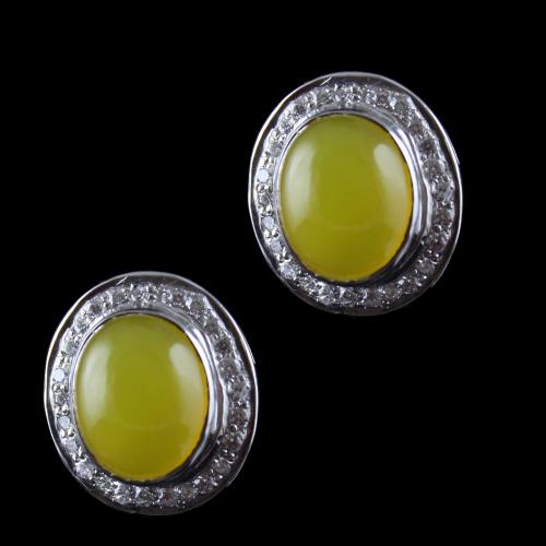 Silver Casual Earring Studded Yellow Onyx And Zircon Stone