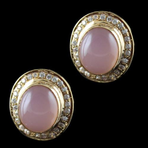 Rose Gold Casual Earring Studded Pink Onyx And Zircon Stone