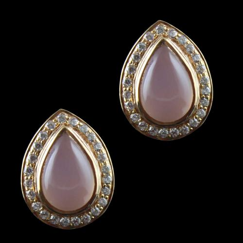 Gold Plated Casual Earring Studded With Pink Onyx And  Zircon Stone