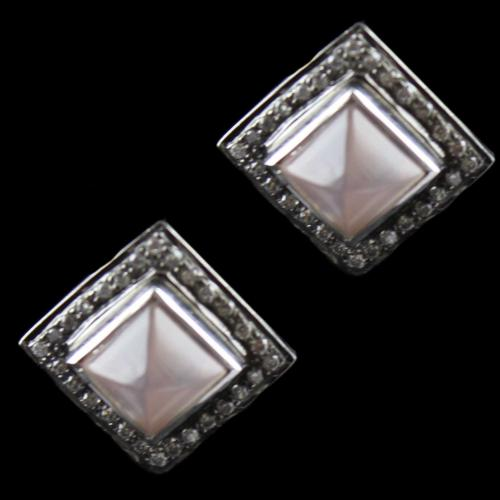 Silver Casual Earring Studded Pink Onyx Zircon Stone