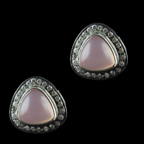 Silver Casual Earring Studded Pink Onyx And Zircon Stones