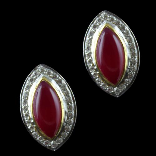 Gold Plated Casual Earring Studded Red Onyx And Zircon Stones