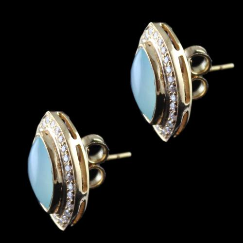 Rose Gold Casual Earring Studded Blue Onyx And Zircon Stones