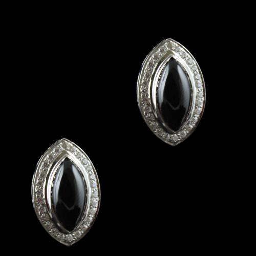 Silver Casual Earring Studded Black Onyx And Zircon Stones