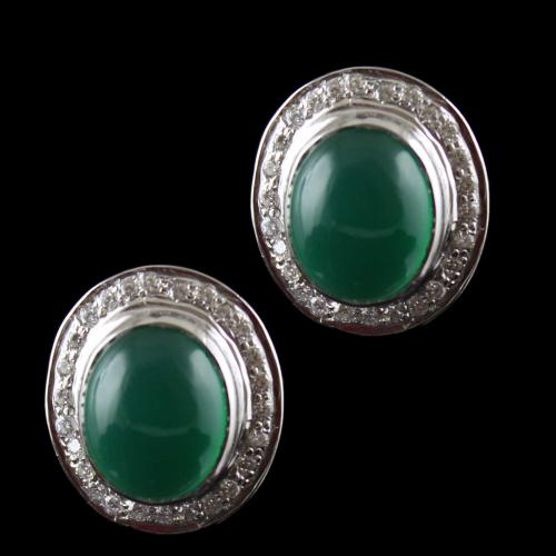 Silver Casual Earring Studded Green Onyx And Zircon Stone