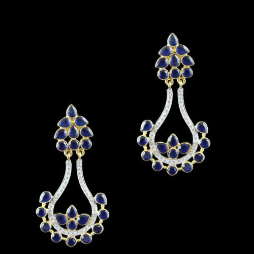 Gold Plated Drops Earring Studded With Black Onyx And  Zircon Stone