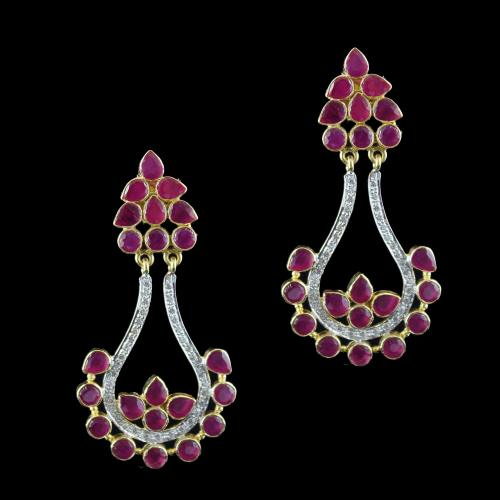 Gold Plated Drops Earring Studded With Red Onyx And  Zircon Stone