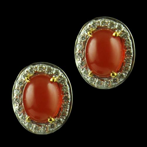 Gold Plated Casual Earring Studded With Orange Onyx And  Zircon Stone
