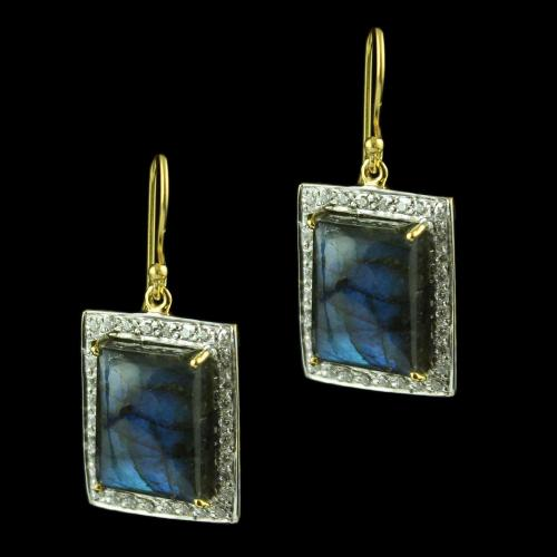 Gold Plated Hanging Earring Studded With Labradorite  And  Zircon Stones