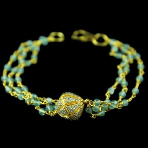 Gold Plated Blue Cut Atti Bracelets With Zircon Stones