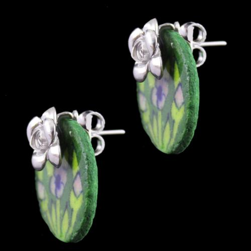 Silver Green Pottery Casual Earrings
