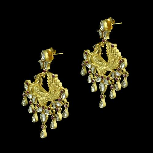 Gold Plated Peacock Design Drops Earring Studded Kunthan And Zircon Stones