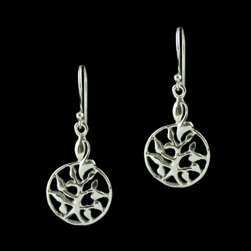 Silver Floral Design Hanging Earring